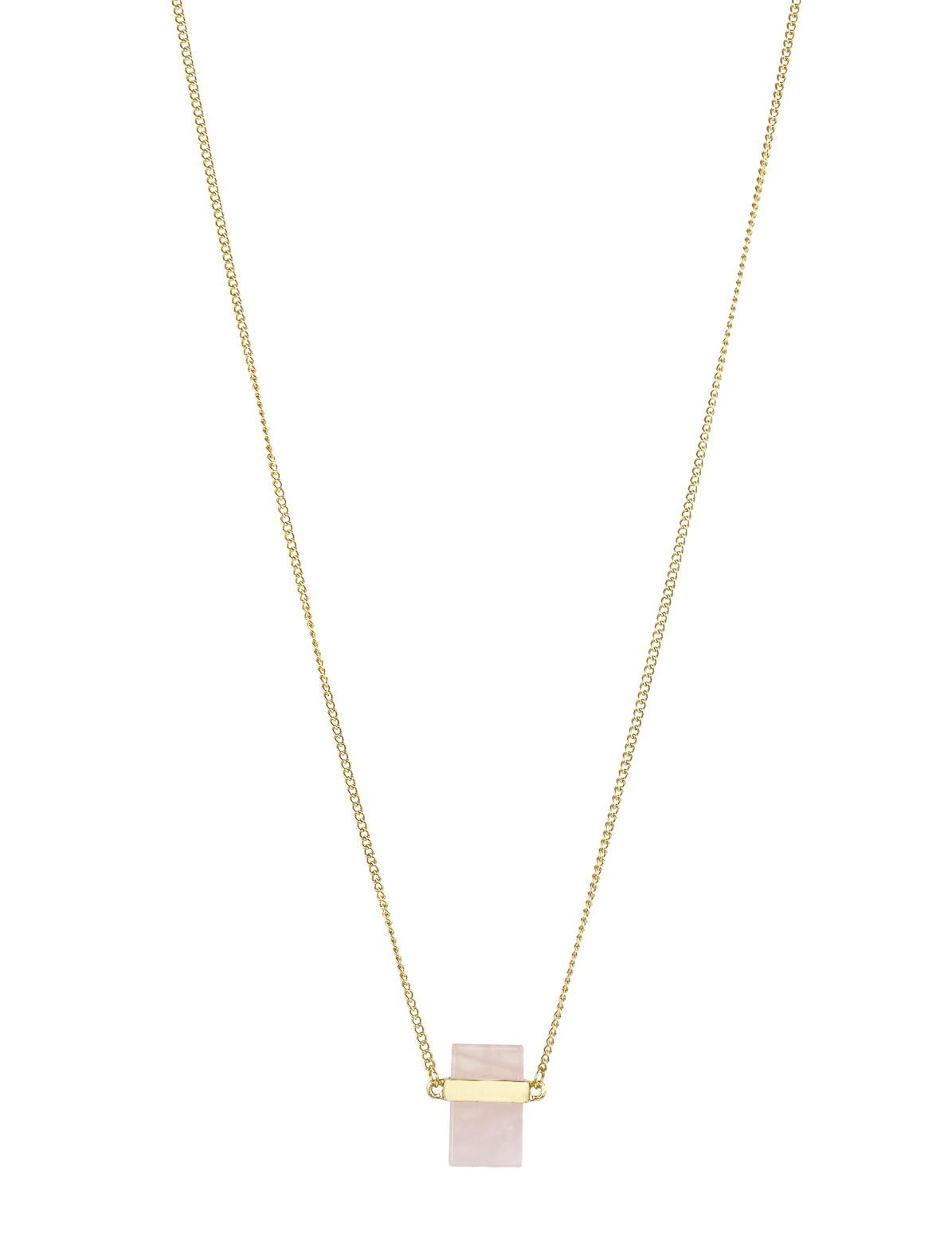 Square Pink Stone Necklace