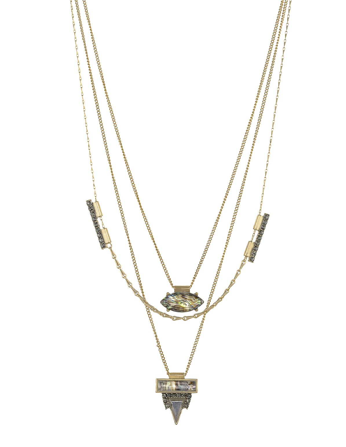 3 Layered Stone and Rhinestone Necklace