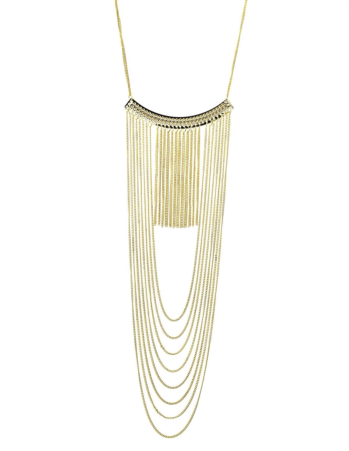 Fringe Chain Studded Bar Necklace