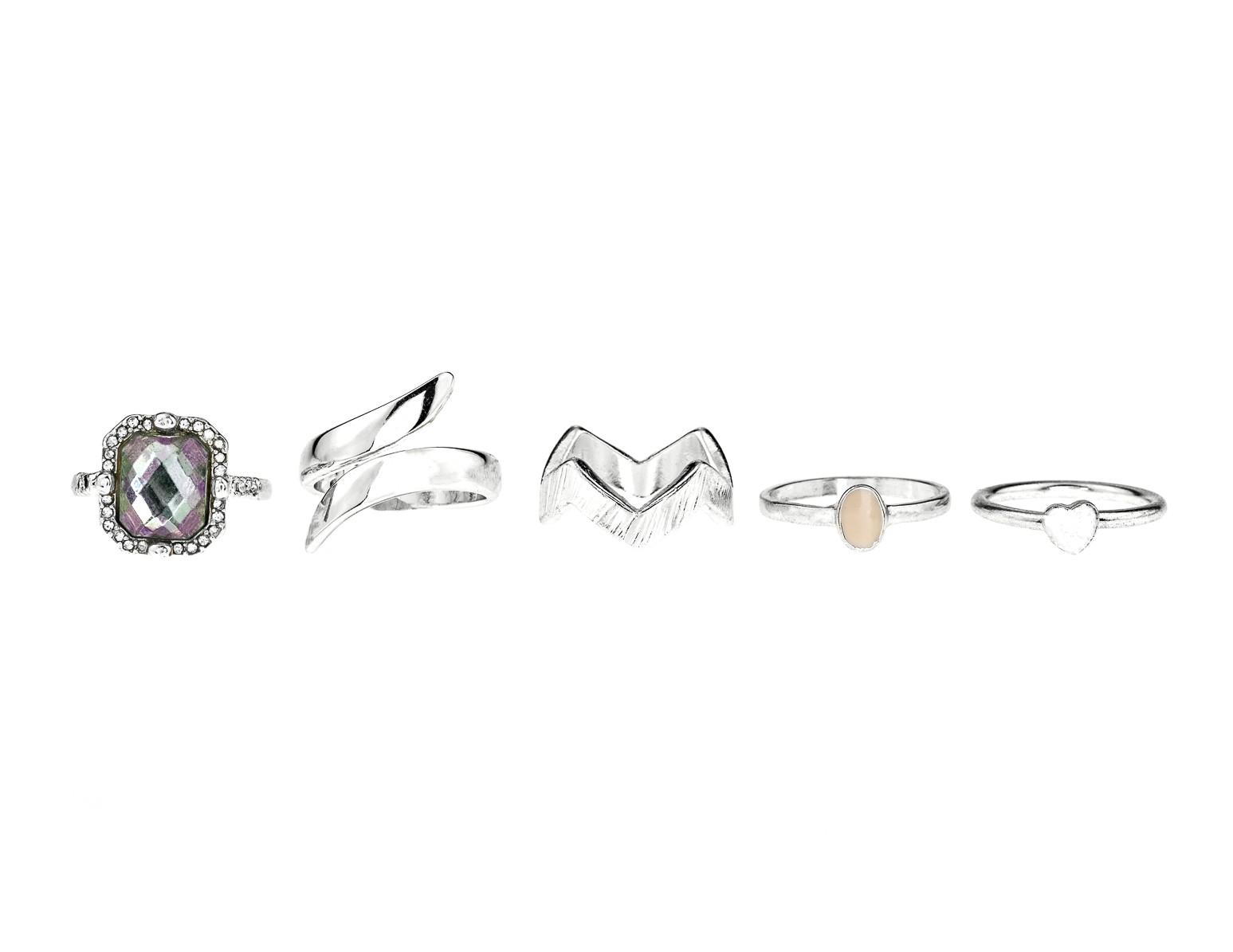 Gemstone Midi rings -set of 6