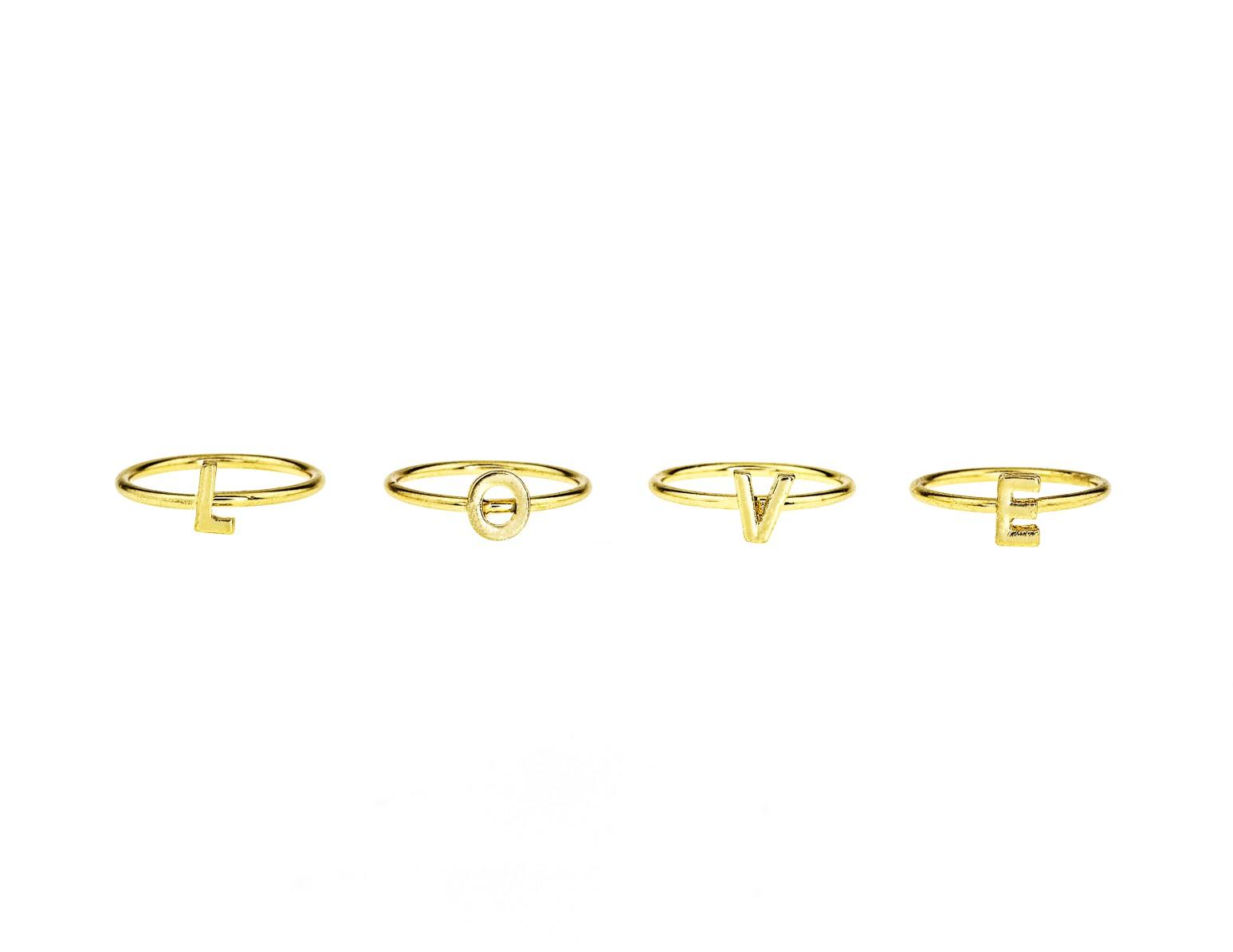 LOVE midi rings-Set of 4
