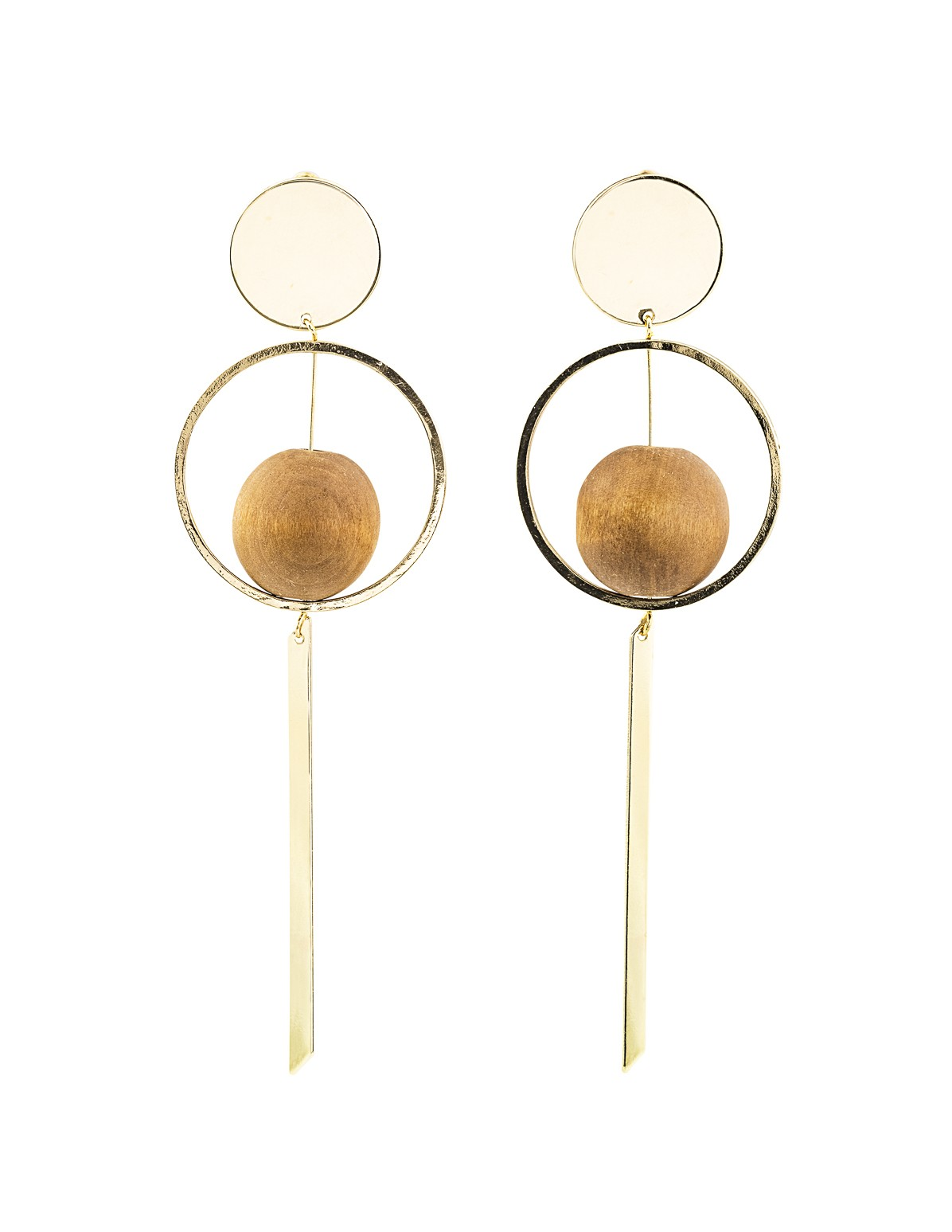 Wood Ball Dangle Earrings