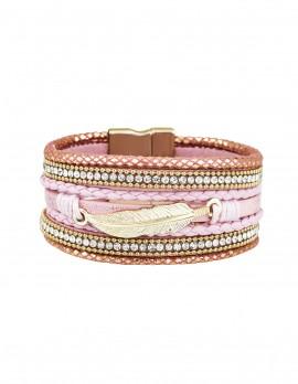 Rope and rhinestone leaf charm bracelet
