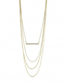 Rhinestone Bar Layered Necklace