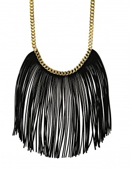 Black Fringe Statement Necklace