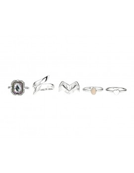 Gemstone Midi rings -set of 6