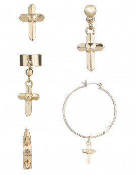 Cross Hoop and Cuff Set - 5 Pieces