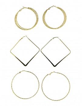 Hoop and Square Earrings-Set of 3