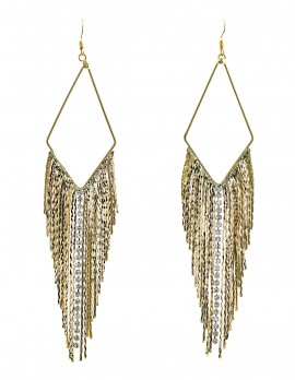 Sleek Chain and Rhinestone Earrings