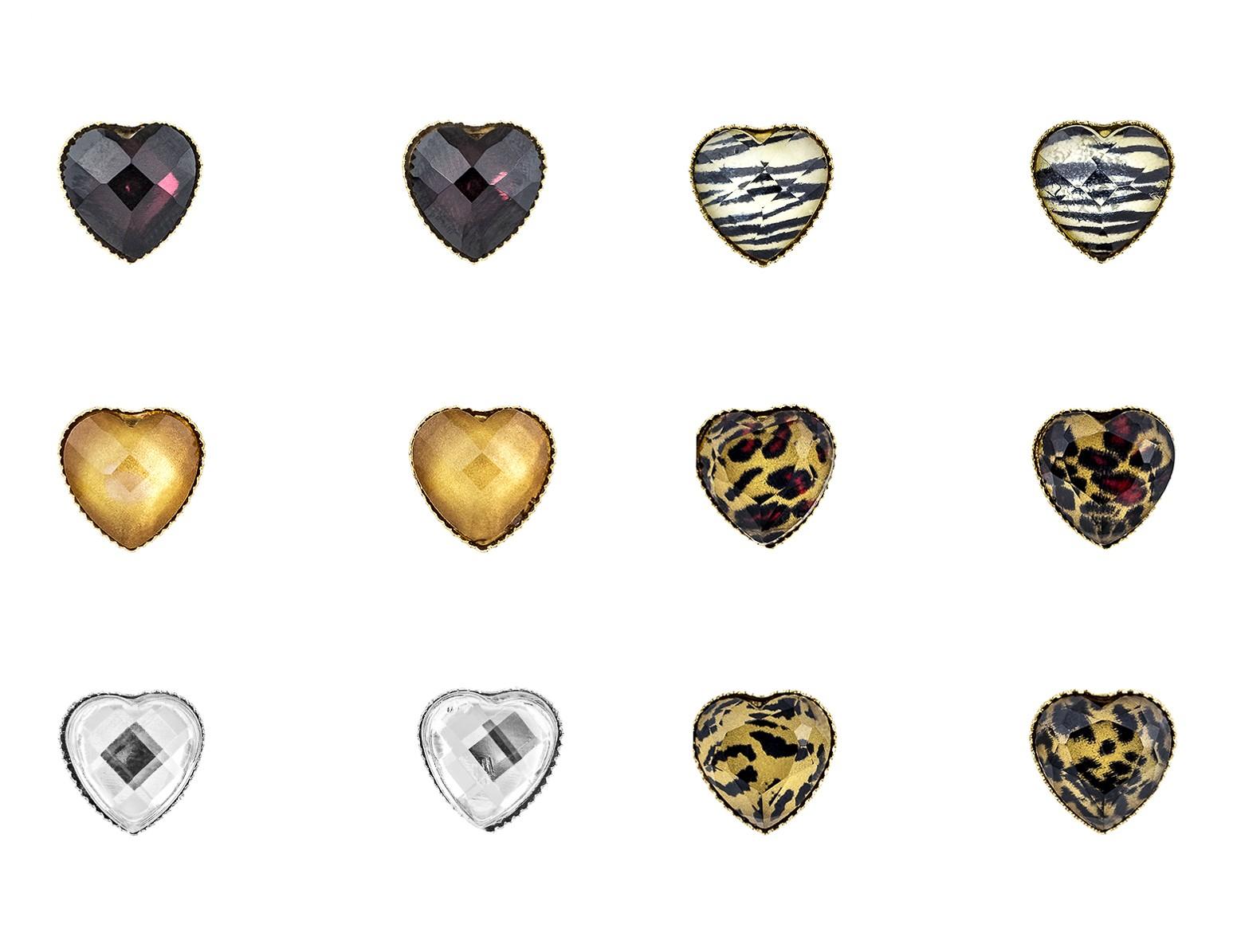 Heart Design Crystal Stud Earring Set of 6