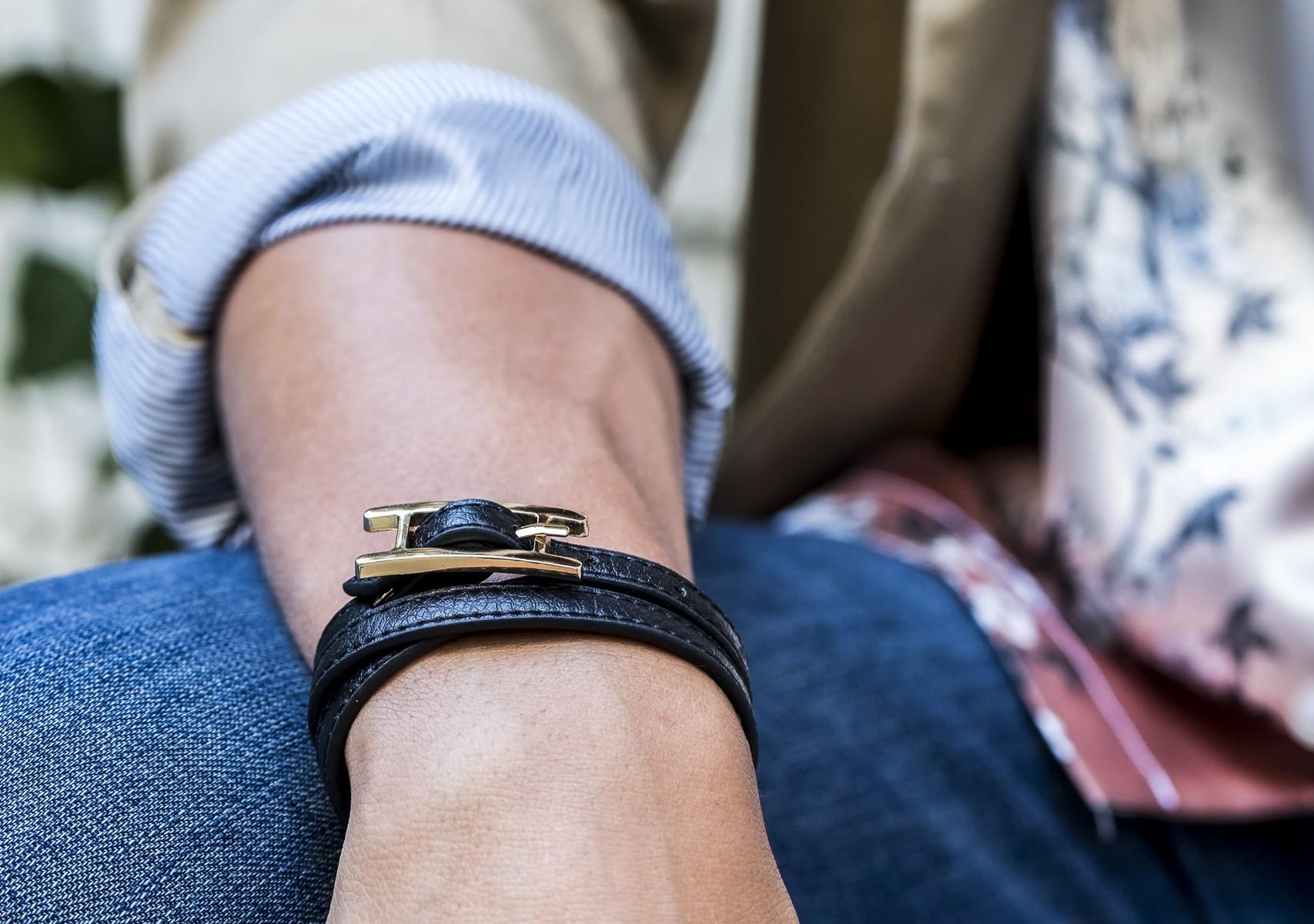 Men's Wrap Bracelet with Buckle Accent