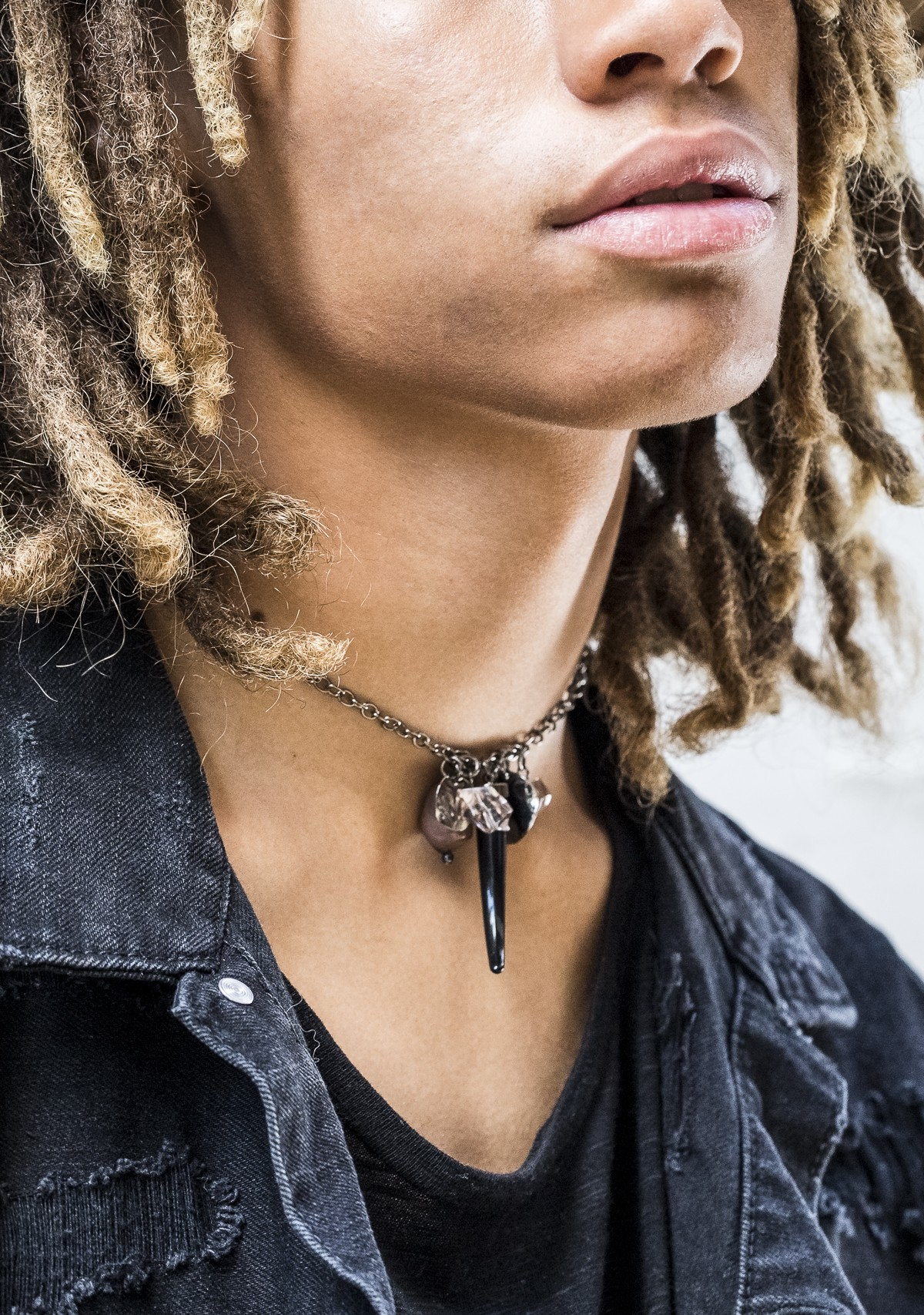 Black Tooth and Stone Charm Necklace