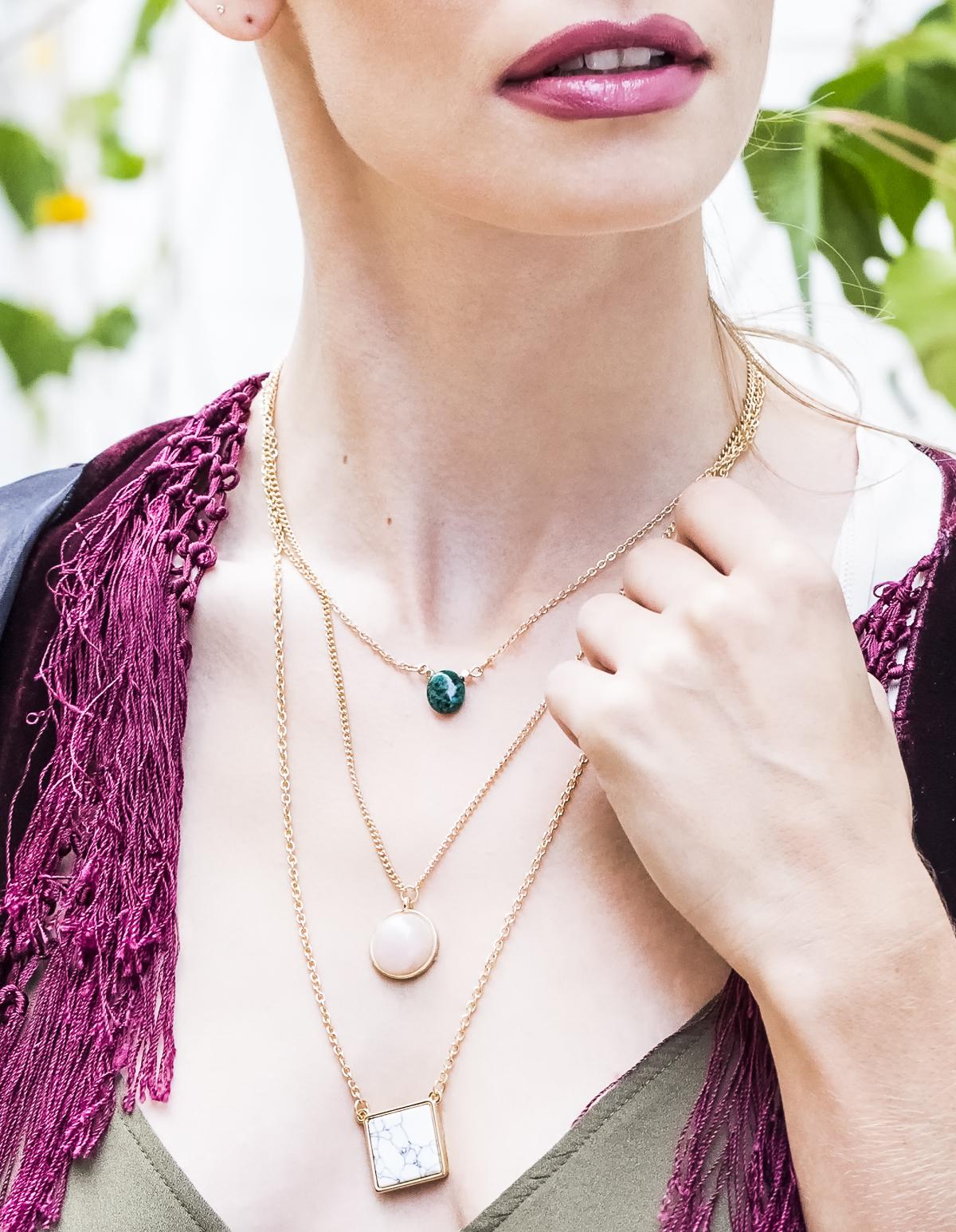 3 Layered Stone Necklace