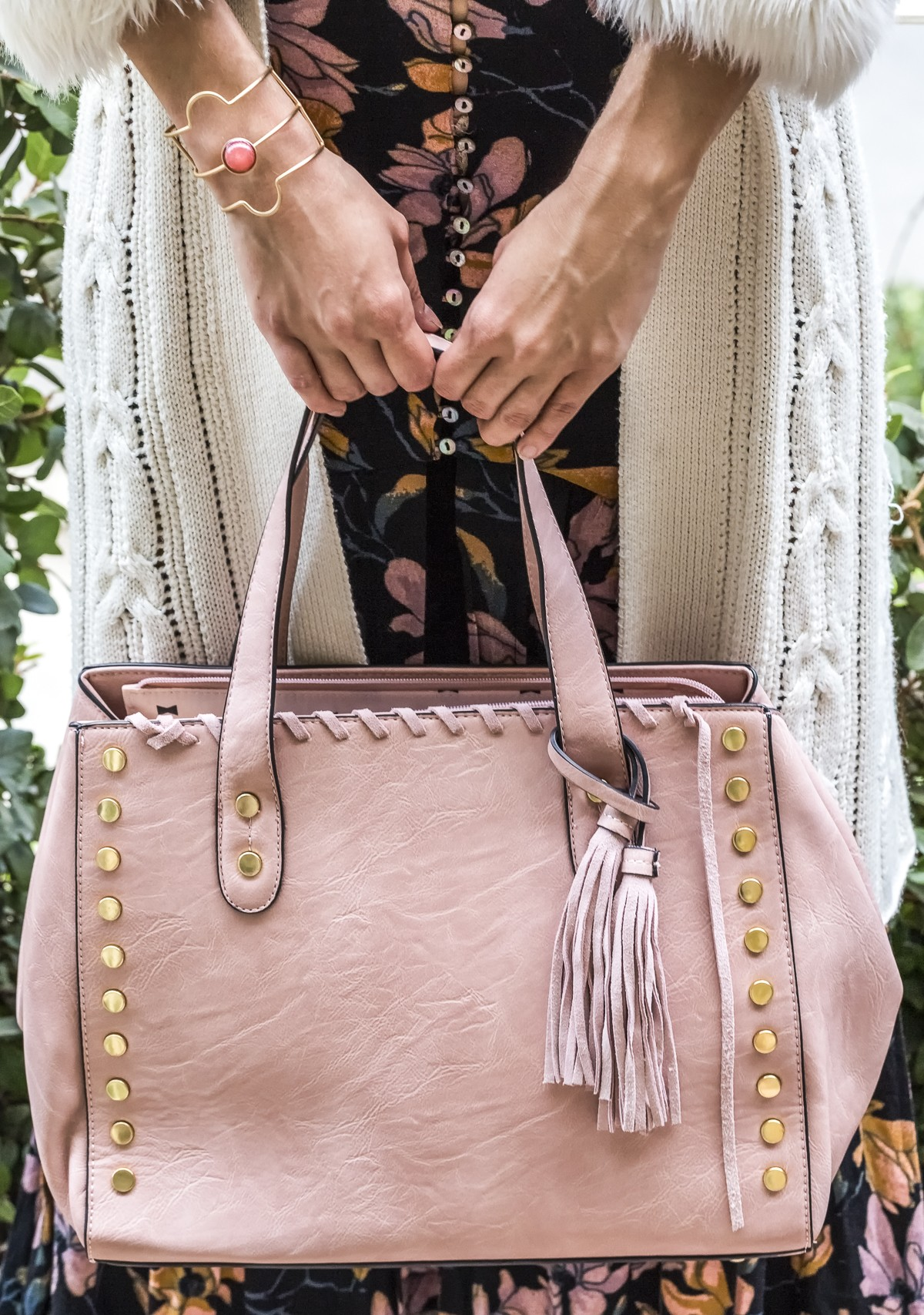 Studded Tote Bag with Tassel