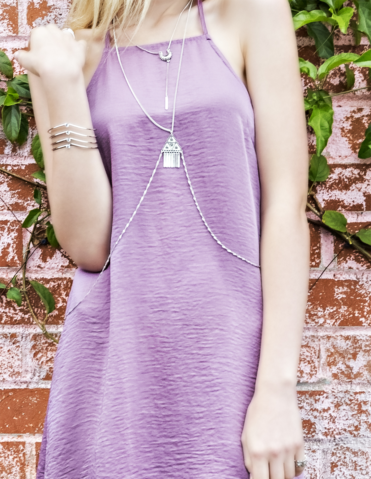 Silver triangle detail body chain