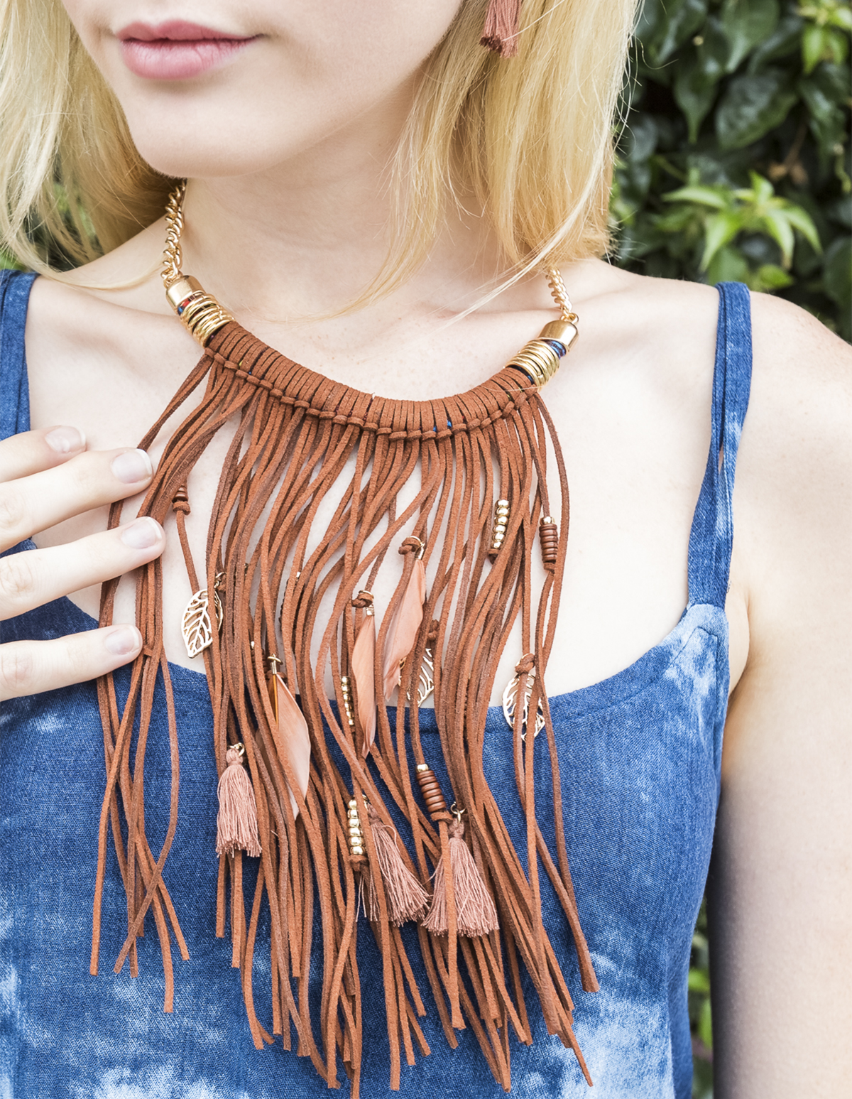 Fringe and Feather Necklace and Earring Set