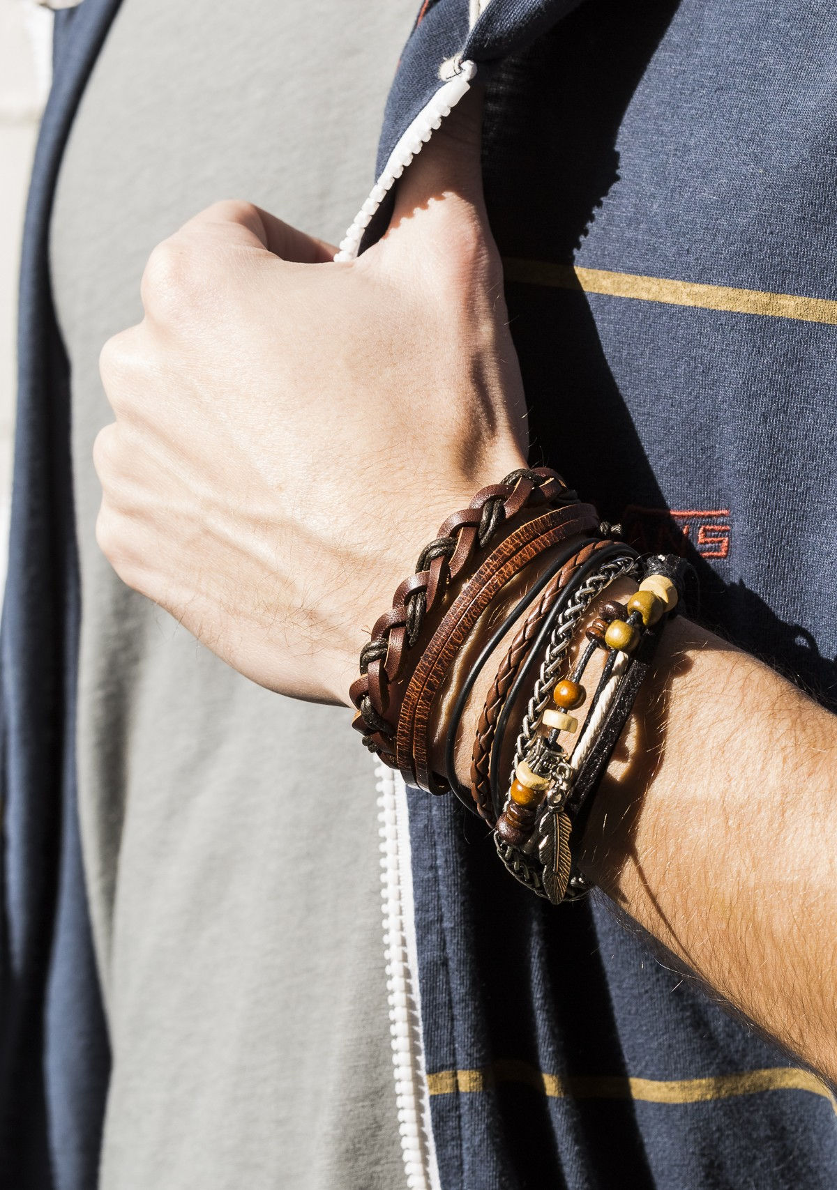 Chain and Braided Bracelet