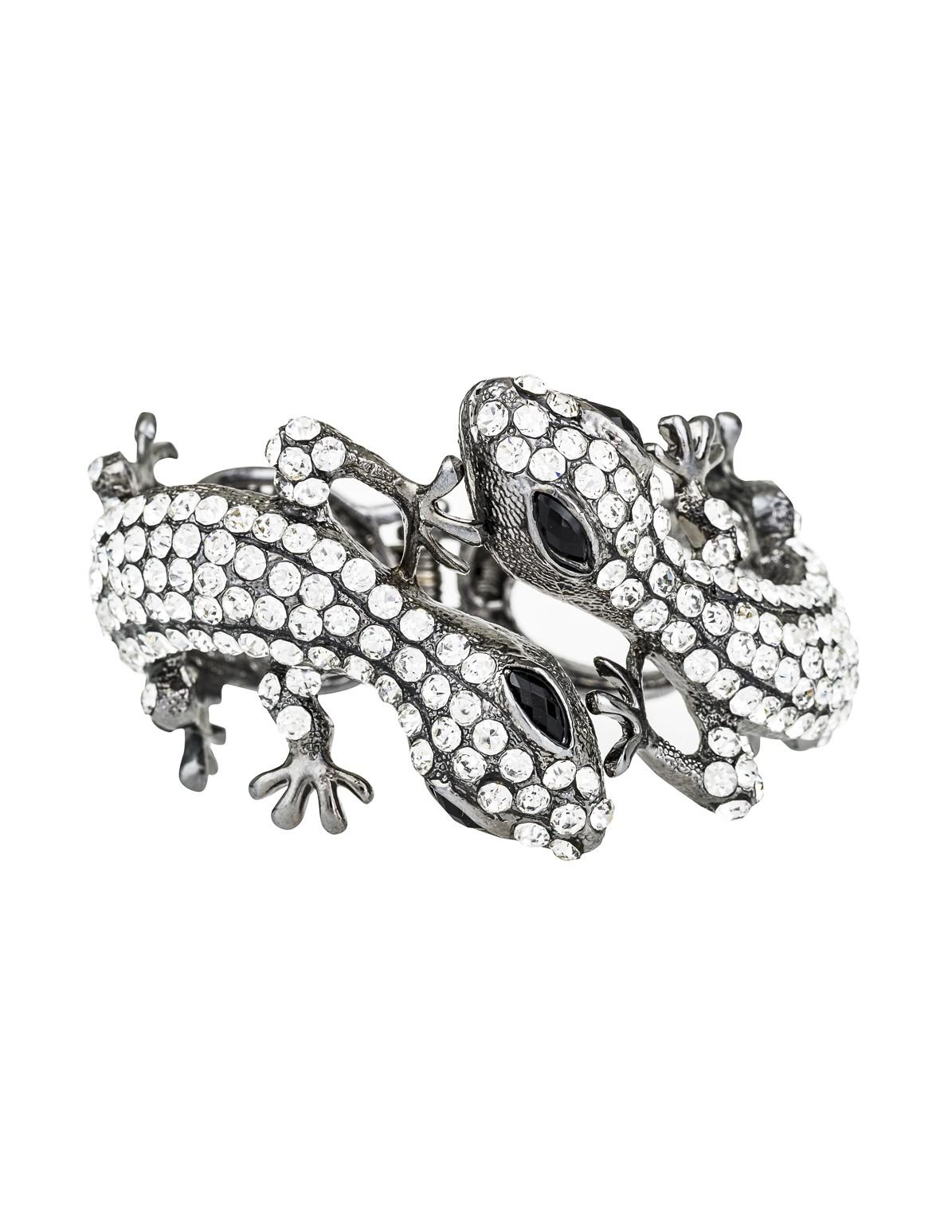 Iguana Rhinestone Cuff Bracelet
