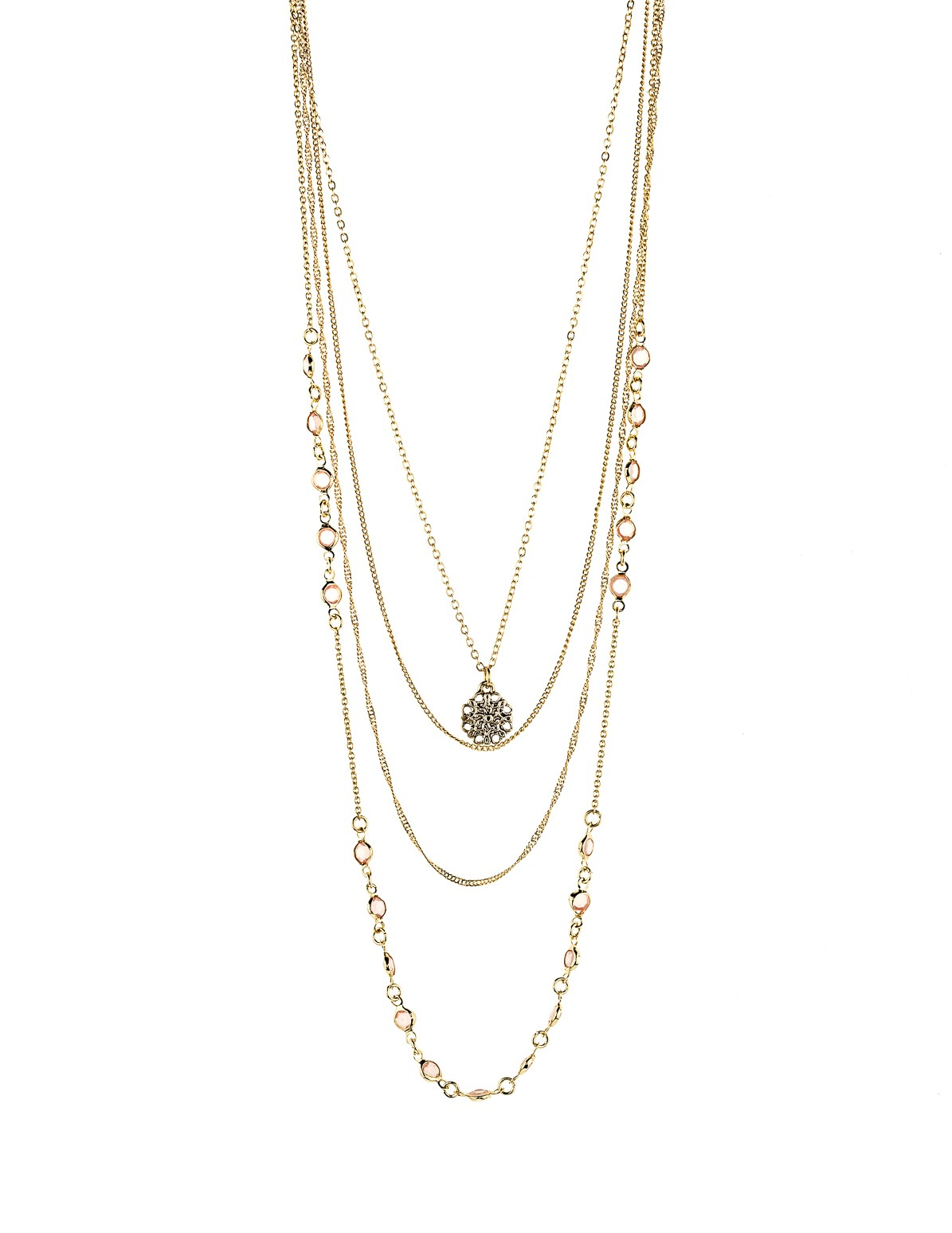 Layered Chain Gemstone Necklace