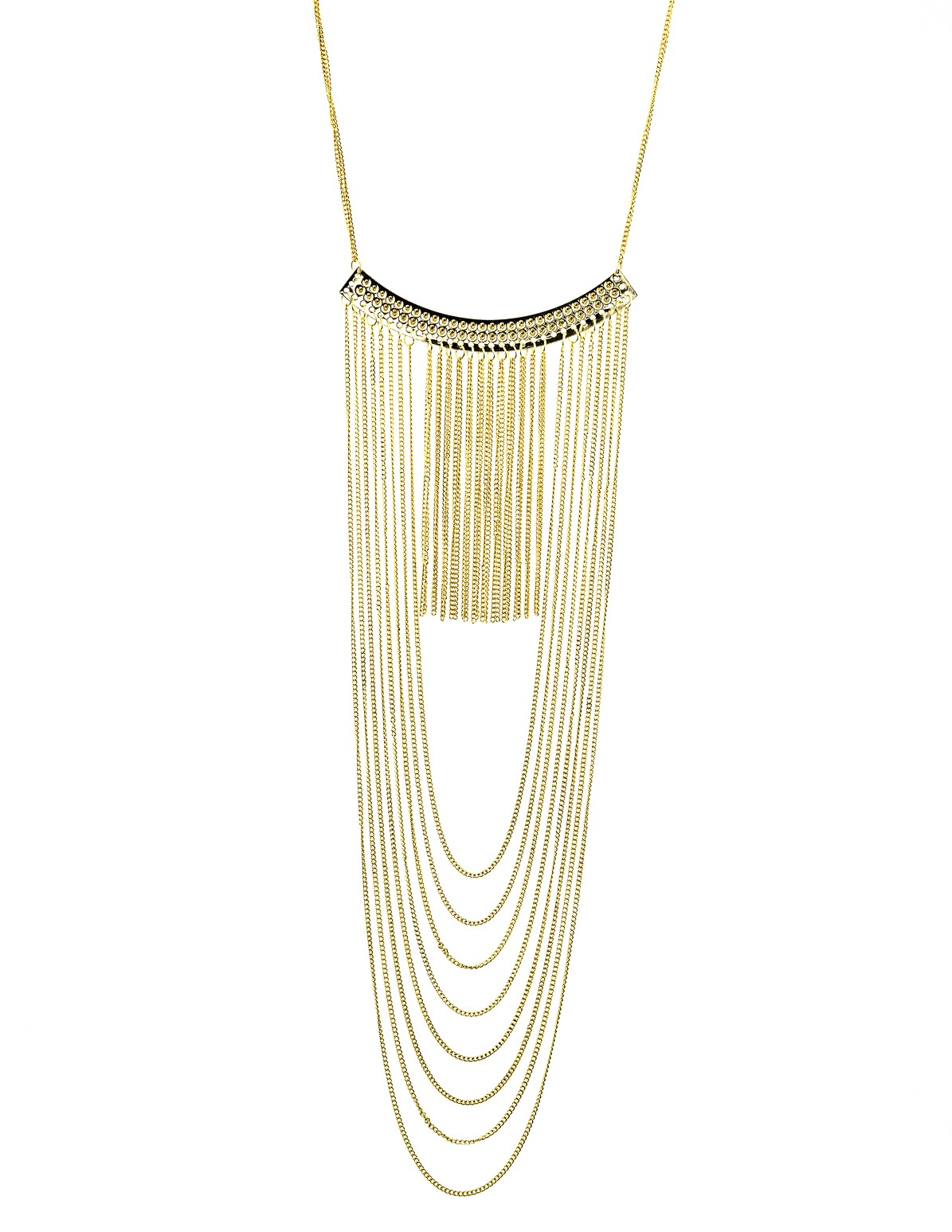 Fringe Chain Studded Bar Necklace