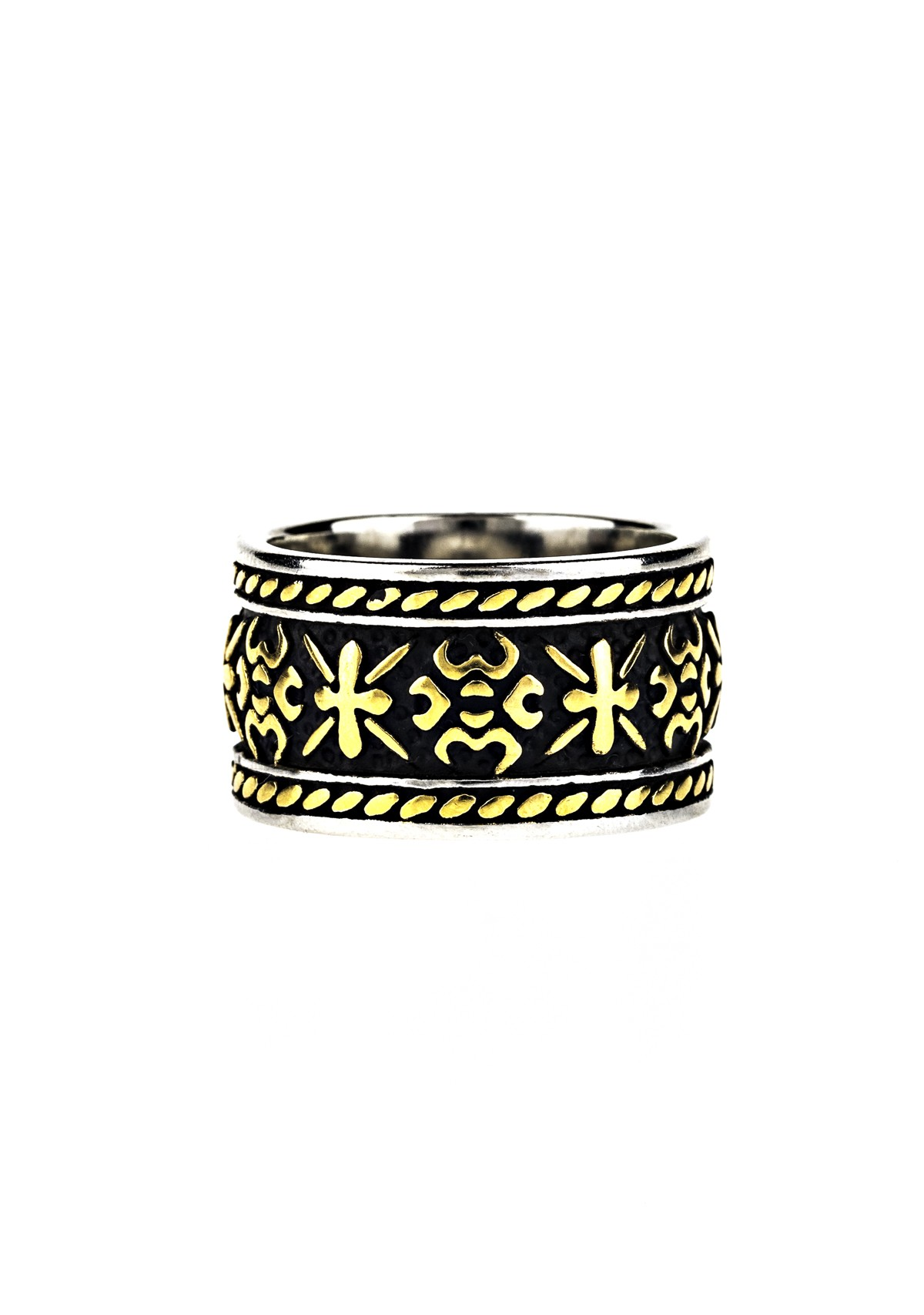 Two Tone Etched Ring-Gold
