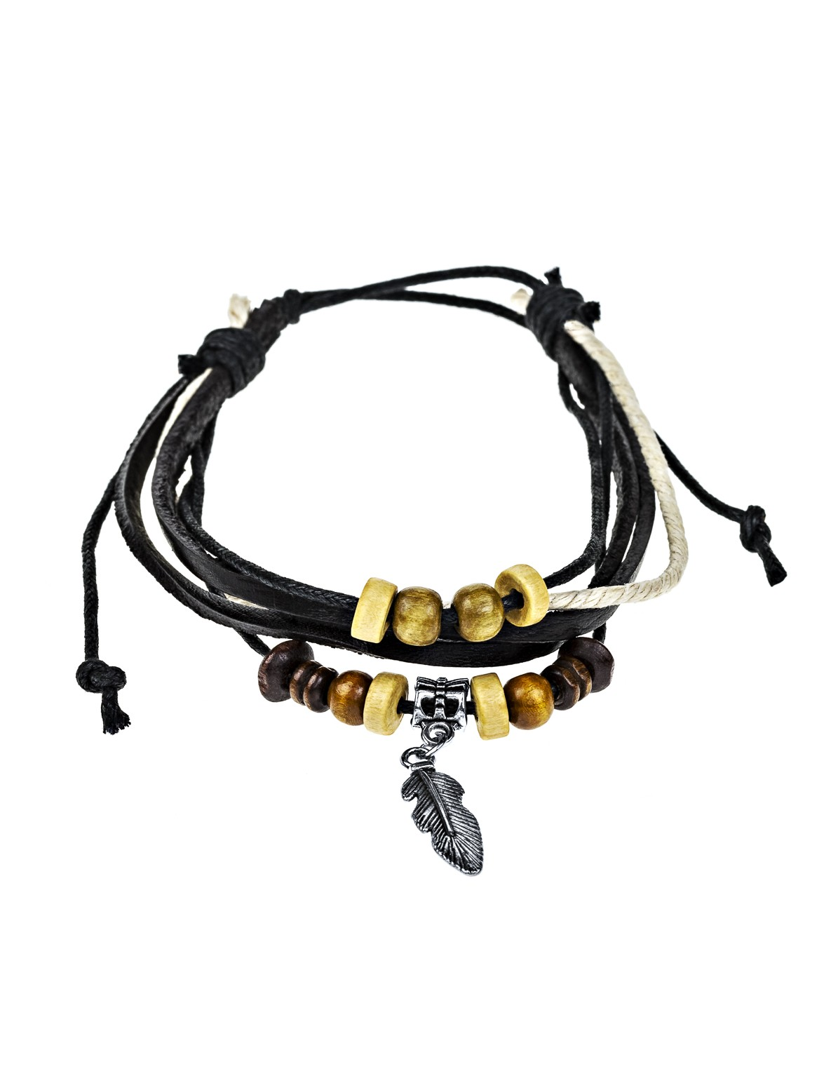 Retro Leaf Bead Bracelet