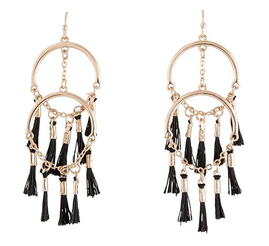 Hoop and Mini Tassel Earrings