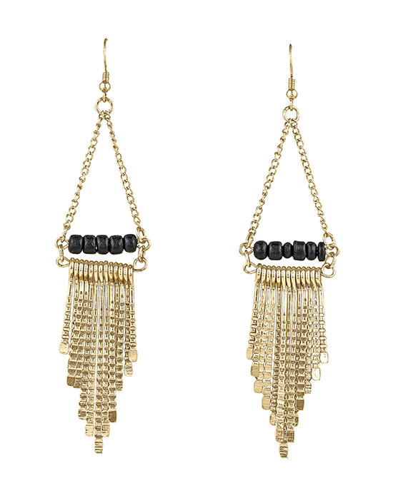 Chain and Bead Trapeze Earrings
