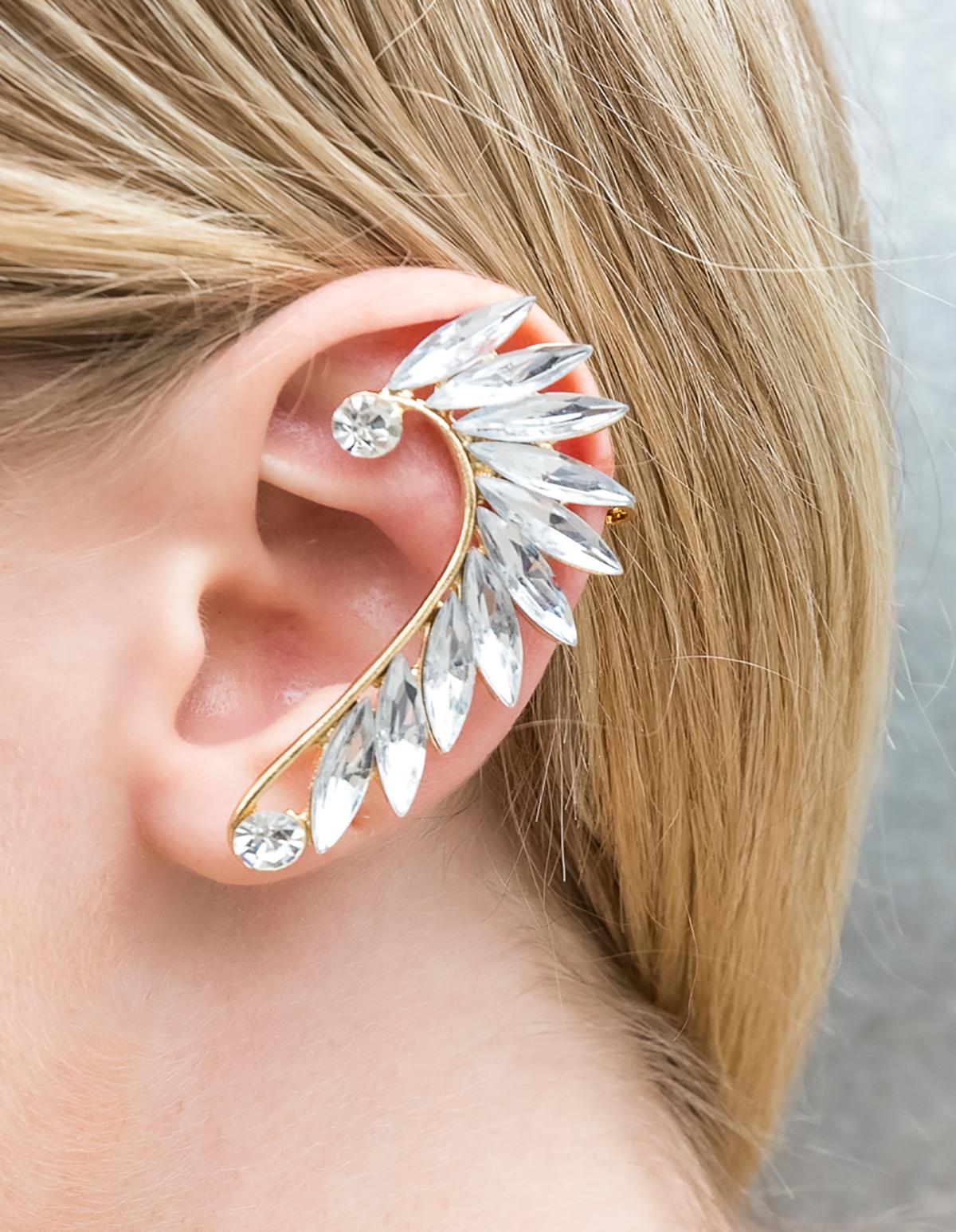 Faux-Rhinestone Leaf Ear Cuff