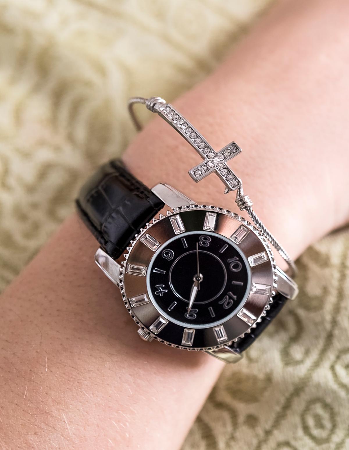 Rhinestone Inlay Banded Watch