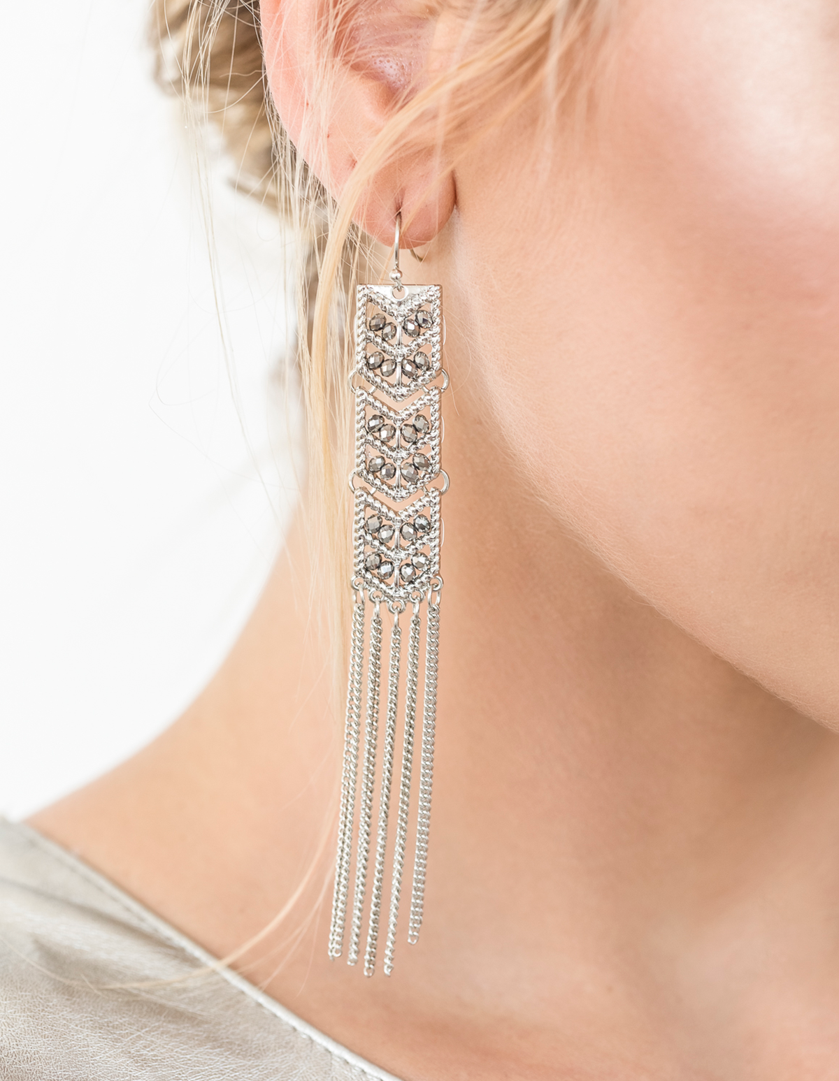 Tiered bead and chain earrings