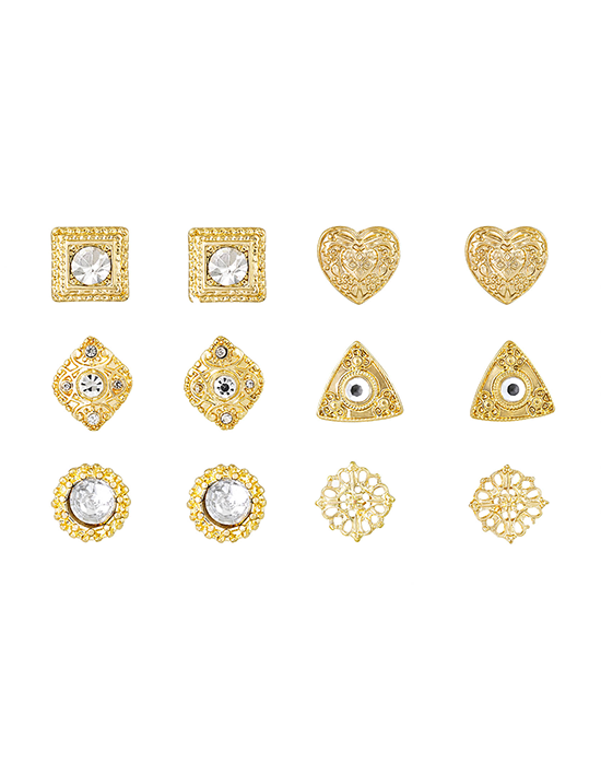 Gold Design & Multi-Shaped Earring Set - 6 Pieces
