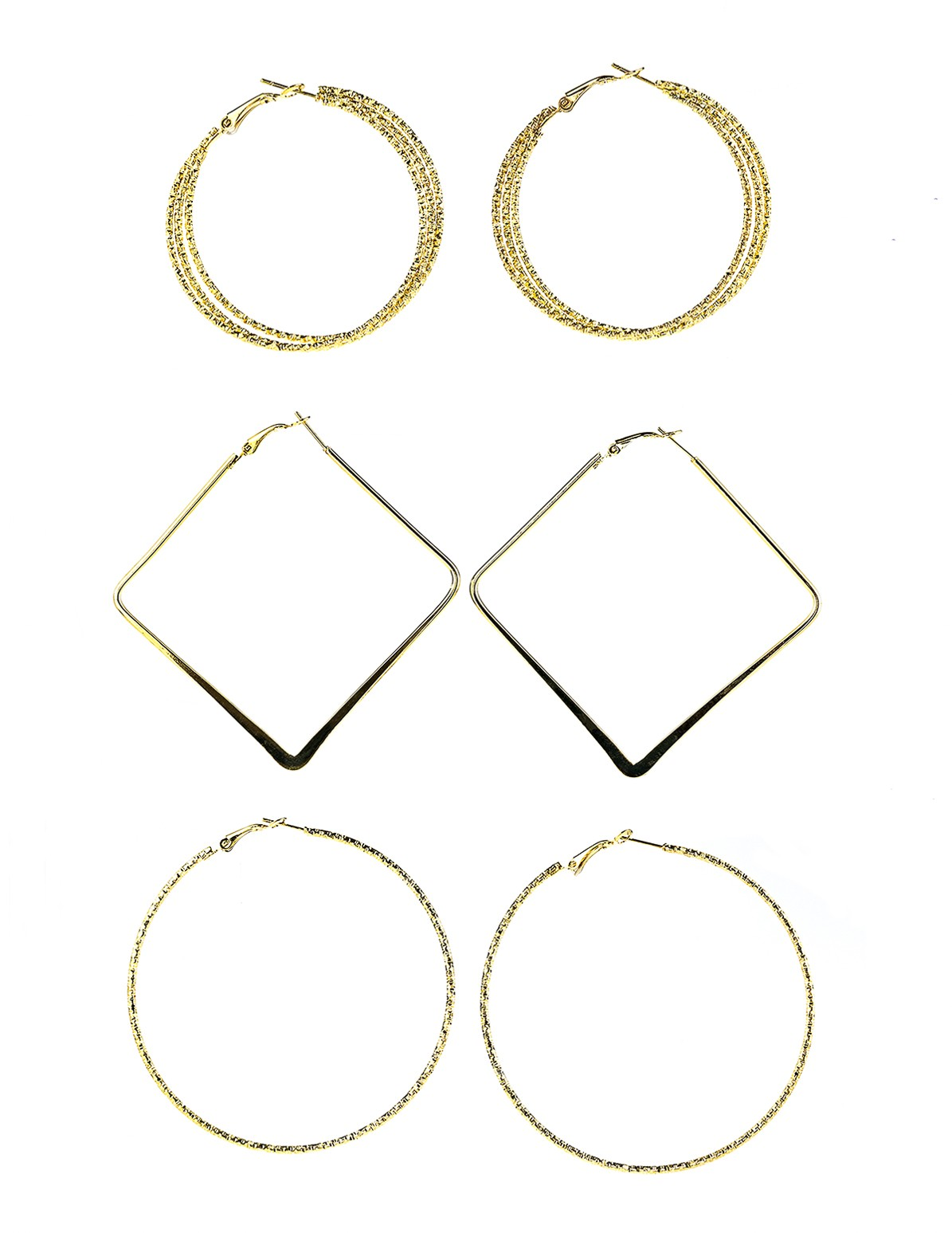 Hoop and Square Earrings-Set of 3