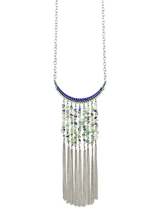 Long Bead and Fringe Necklace