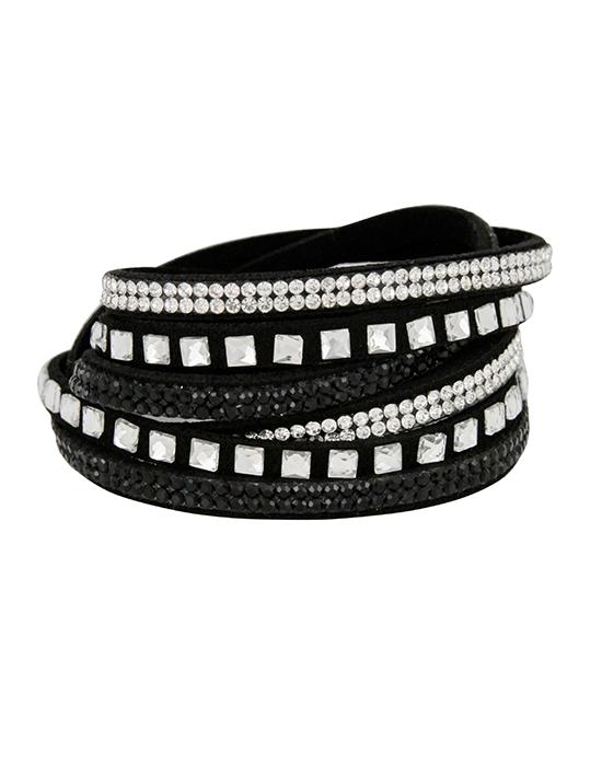 Rhinestone Black Wrap Bracelet