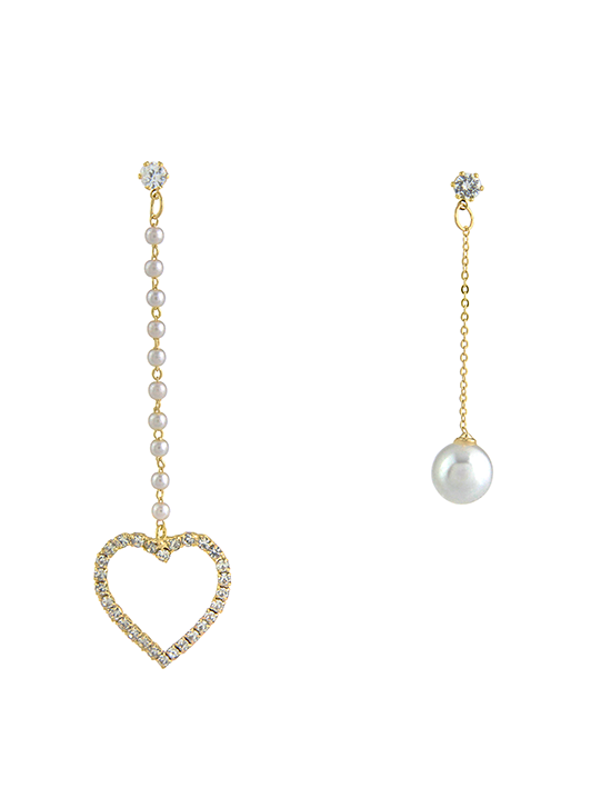 Faux-Pearl Heart Drop Earrings