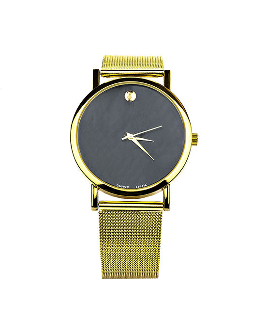 Metal Watch with Black Face