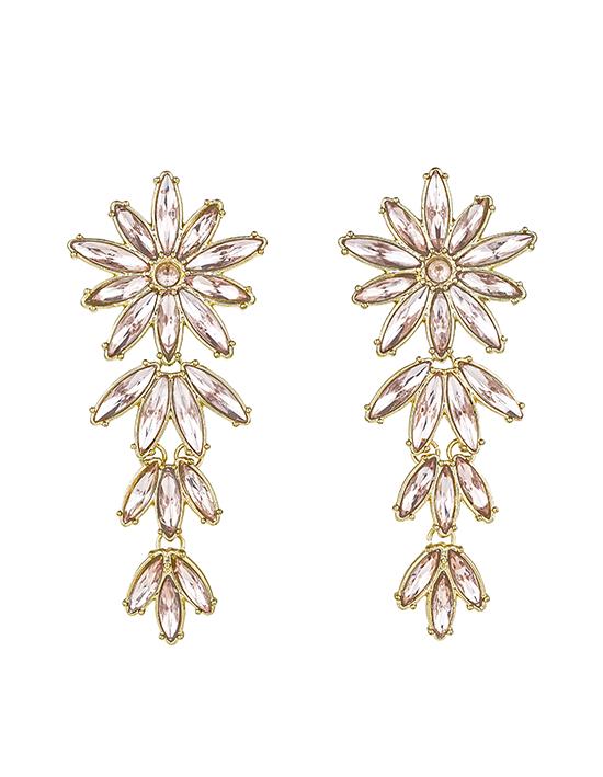 Pink Flower Stud Dangling Earrings