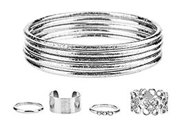 Etched Bangle Bracelet Ring Set 9 pcs