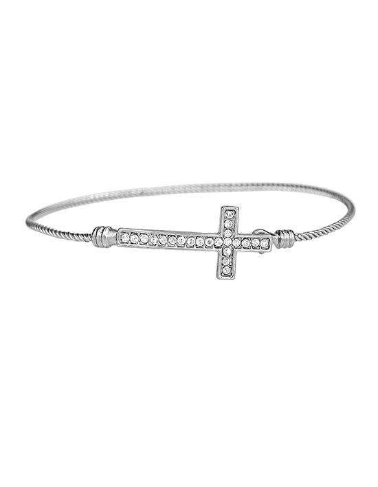 Silver Rope Band Cross Bracelet