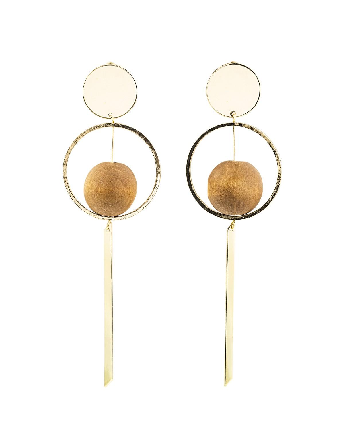 Wood Ball Dangle Earrings