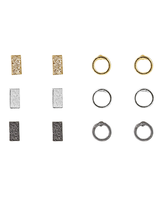 Tiny Square & Circle Earring Set - 6 pieces