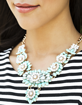 Teal/White/Blue Flower Necklace