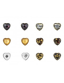 Heart Design Crystal Stud Earring Set of 6