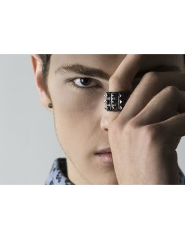 Men's Hematite Studded Stretch Ring