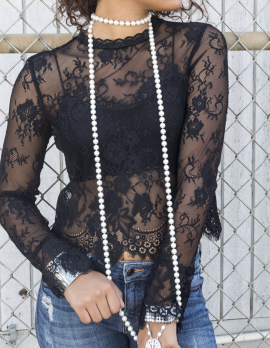 Faux Pearl Extra Long Necklace