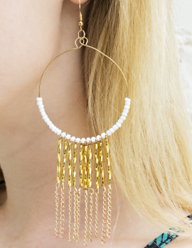 Hoop Bead and Chain Dangle Earrings