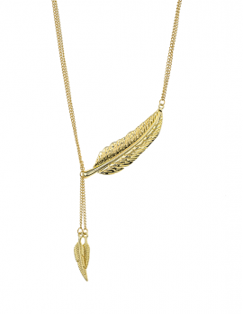 Gold FeatherDrop Necklace