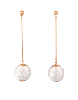 Fabric Ball Drop Earrings
