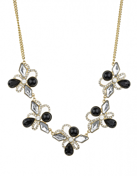 Floral Bead and Faux-Rhinestone Necklace